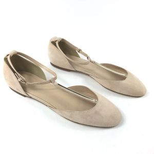 J. Crew T Strap Ankle Flats Pale Pink Suede Shoes